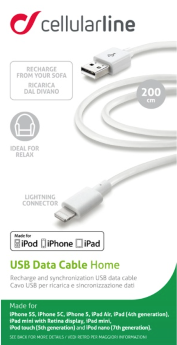 datový kabel pro iphone lightning 2m cellularline